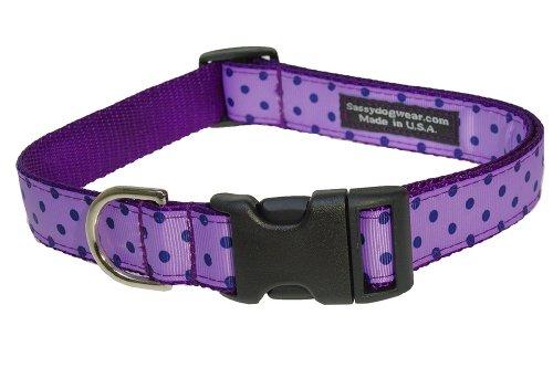 Sassy Dog Wear 18-28-Inch Orchid/Navy Polka Dot Dog Collar, Large