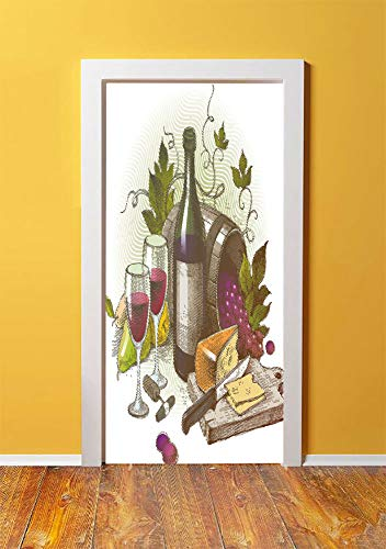 Wine 3D Door Sticker Wall Decals Mural Wallpaper,Vintage Style Composition with Wine and Cheese Fruits Gourmet Taste Beverage and Food,DIY Art Home Decor Poster Decoration 30.3x78.11430,Multicolor ()