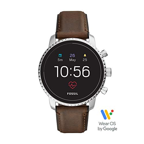 Fossil Men's Gen 4 Explorist HR Heart Rate Stainless Steel and Leather Touchscreen Smartwatch, Color: Silver, Brown (Model: FTW4015) (Best App For Sending Group Texts)