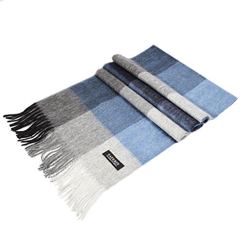 Saferin Women Men Cashmere & Lambwool Luxury Plaid Soft & Warm Scarf Blue and Grey