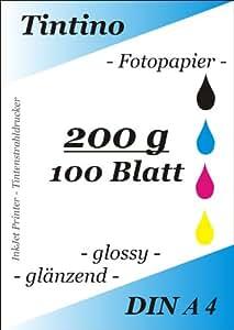 Tintino - Papel fotográfico, DIN A4, 200 g/m², 100 hojas, brillante, secado rápido, resistente al agua, alto brillo de color, apto para impresoras de inyección de tinta, color blanco intenso
