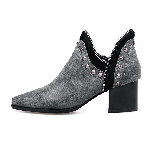 AllhqFashion Womens Soft Material Pointed Closed Toe Solid Ankle-high Kitten-Heels Boots Gray ooVWQ9Ked