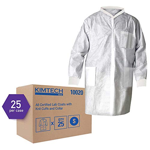 - Kimtech A8 Certified Lab Coats with Knit Cuffs and Collar (10020), Protective 3-Layer SMS Fabric, Knit Collar & Cuffs, Unisex, White, Small, 25 / Case