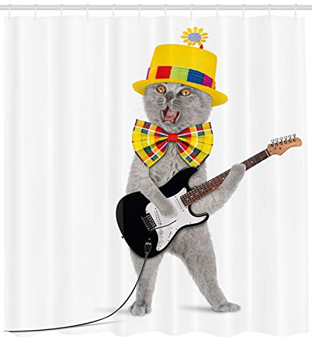 Ambesonne Cat Shower Curtain, Hipster Musician Kitty Playing Guitar Singing with Fun Hat Party Birthday Humor Picture, Cloth Fabric Bathroom Decor Set with Hooks, 75