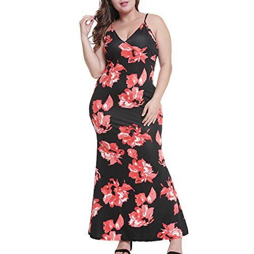 MURTIAL Women's Fashion Camis Long Dress Print Plus Size Sexy V-Neck Floral Sleeveless(Red,L)