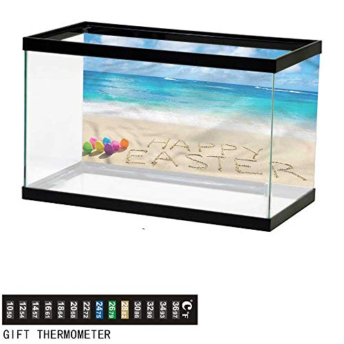 (bybyhome Fish Tank Backdrop Easter,Happy Easter Writing on Sand,Aquarium Background,36