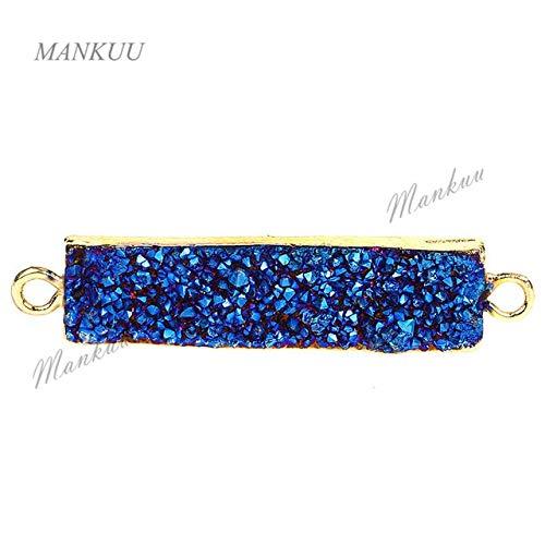 Laliva DRF024 More Color Titanium Rectangle Shape Druzy Pendant Connector with Double Bails Hot Necklace Bracelet Charm 1040mm - (Color: Blue, Size: ()