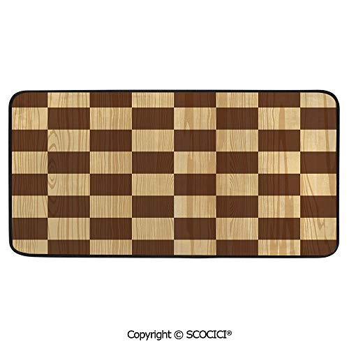 (Rectangular Area Rug Super Soft Living Room Bedroom Carpet Rectangle Mat, Black Edging, Washable,Checkered,Empty Checkerboard Wooden Seem Mosaic Texture Image Chess,39