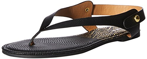 Qupid Women's Thong Sandal Flat, Black, 7 M US