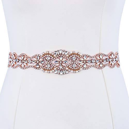 XINFANGXIU Rose Gold Rhinestone Beaded Formal Dress Belt Applique Crystal Bridal Wedding Sash Bridesmaid Gown Applique with Jeweled Diamond Embellishments Sew Iron on Hot Fix for Clothes
