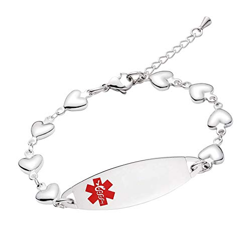 linnalove-Fashion Heart Chain Medical Alert id Bracelet for Women & Girl-Customize