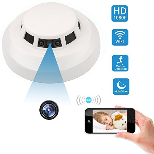 Spy Hidden Camera, ZDMYING WIFI Smoke Detector Camera HD 1080, with Night Vision Motion Detection loop Recording Alarm Mini Video Recorder Surveillance, Nanny Cam Support iPhone Android and ()