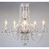 New! AUTHENTIC ALL CRYSTAL CHANDELIERS H25 X W24 SWAG PLUG IN-CHANDELIER W/14′ FEET OF HANGING CHAIN AND WIRE!