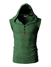WSLCN Mens Casual Sleeveless Cotton Hooded Vests Tank Tops