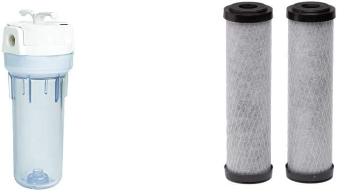 EcoPure EPW2VC Whole Water Filtration System Housing & Carbon Universal Whole Home Filter (2 Pack)