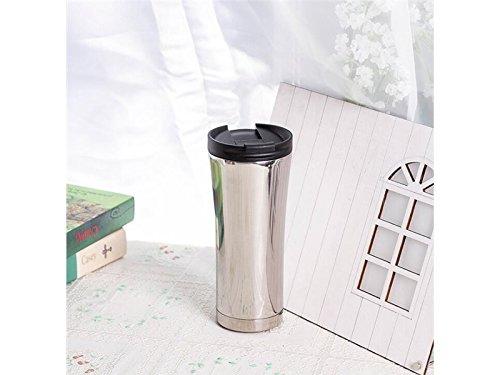 ADream 500 ml Edelstahl Wasserflasche Vakuumisolierte Wasserflasche Tasse mit Schwarz Tragbare Tasche Perfekt für Radfahren Sport (Silber)