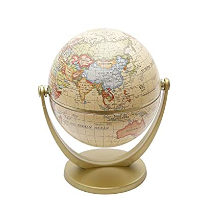 Galapara World Globe, 5.9-inch Home Office Desktop World Globe with Stand, Spinning Rotating Globe for Kids, Office Desktop Decoration, Geography Educational Tool, Yellow and Gold,: Home & Kitchen