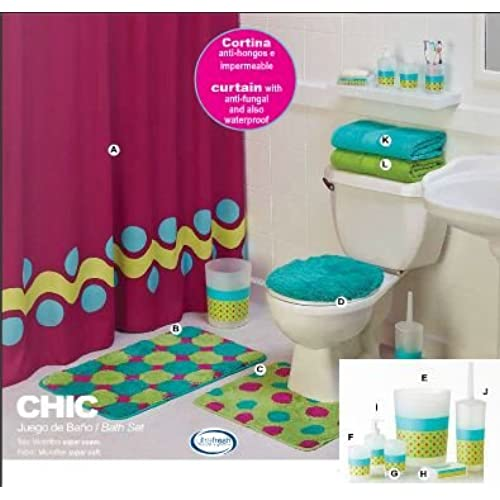 Limited Edition U0027Chicu0027 Complete Bathroom Set With Accessories (12 Piece)