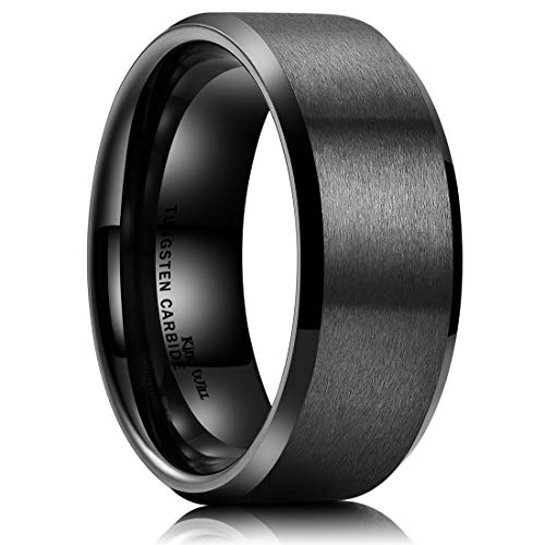 King Will Basic Men Wedding Black Tungsten Ring 9mm Matte Finish Beveled Polished Edge Comfort Fit 12.5