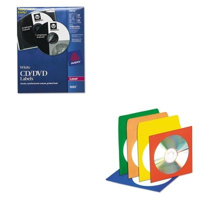 (KITAVE5692IVR39404 - Value Kit - Innovera CD/DVD Envelopes with Clear Window (IVR39404) and Avery Laser CD/DVD Labels (AVE5692))