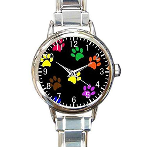 (Paw Print Dog Paw Custom Womens Round Charm Bracelet Wrist Watch)