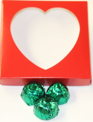 Scott's Cakes Dark Chocolate Lemon Cream Filling Candies with Dark Green Foils in a 1 Pound Heart Box