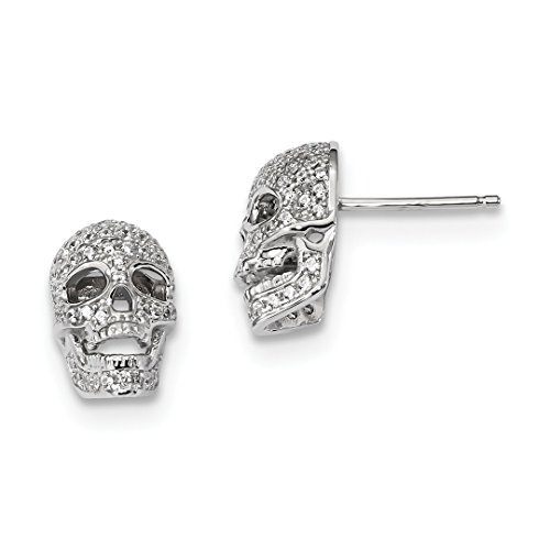 925 Sterling Silver Cubic Zirconia Cz Skull Post Stud Earrings Holiday Fine Jewelry For Women Gift Set ()