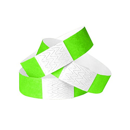 (WristCo Neon Green 3/4 Inch Tyvek Unnumbered 500 Count Paper Wristbands for)