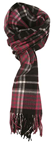 Love Lakeside-Men's Cashmere Feel Winter Plaid Scarf (One, Black & Pink)