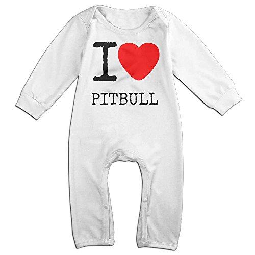 Baby Infant Romper I Love Pitbull Long Sleeve Jumpsuit Costume White 6 M