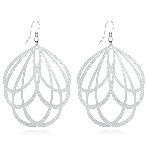 DMI Women Unique Jewelry Alloy Filigree Cross Floral Cutout Lightweight Earrings Silver Tone Filigree Cross