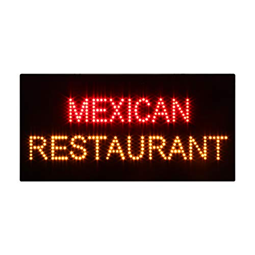 LED Mexican Restaurant Open Light Sign Super Bright Electric Advertising Display Board for Tacos Burritos Tortas Business Shop Store Window Bedroom 24 x 12 inches -