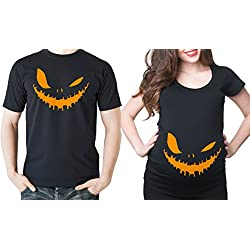 Halloween Matching Couple T-shirts Halloween Smile Shirts Pregnancy T-shirts Halloween Costume Jersey Top Men XL - Women Large