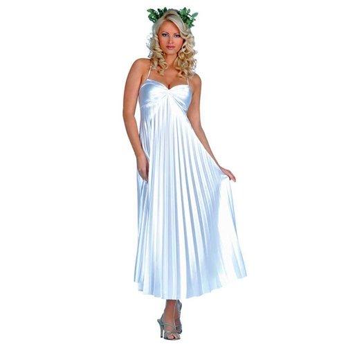 Music Legs Women's Athenian Goddess Long Gown White S/M (Goddess Costume Athenian Adult)