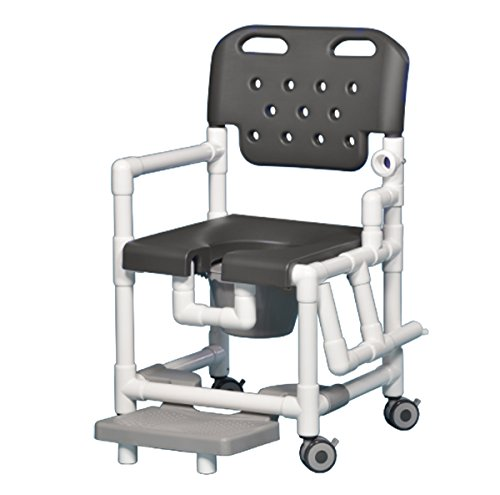 Elite Shower Chair Commode with Footrest and Left Drop Arm ELT817 P FRLDA (Gray)