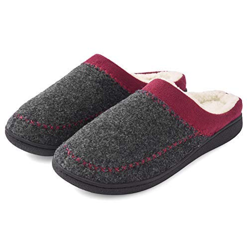 Womens Slipper with Comfort Memory Foam~Winter Warm Breathable Slippers Two-Tone Lady Slip On Shoes Indoor/Outdoor Sole