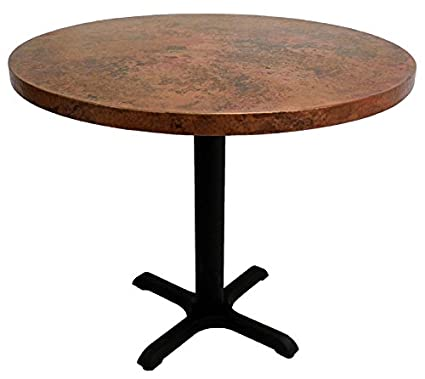 Amazon 30 round copper dining table with cast iron x base 30quot round copper dining table with cast iron x base bar top height watchthetrailerfo
