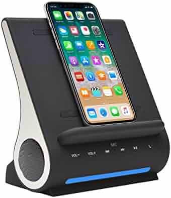 Azpen Dockall D100 - Qi Wireless Charging Docking Station with Bluetooth Speaker System
