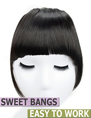 Clips in Hair Bangs Fringe Hair Extensions Clip On Bang Synthetic Hairpieces False Short Flat Two Side (1B#) (Bang Fringe)