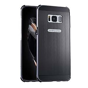 BtDuck - Carcasa para Samsung Galaxy S8Plus (6,2pulgadas), aluminio metalizado efecto espejo, 2en 1(borde de metal y parte trasera de plástico de policarbonato), antichoques, semitransparente + 1lápiz táctil negro, negro
