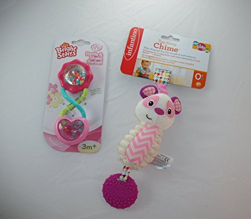 Baby Gift Bundle - 2 Items: Infantino Pink Panda Tag Along Chime and Bright Starts Pink Rattle and Shake (Tag Along Chimes)