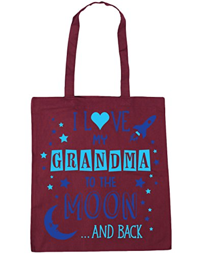 "HippoWarehouse bolsa tote para compras, gimnasio, playa con la inscripción ""I Love My Grandma to the Moon and Back"" en azul, 42 cm x 38 cm, capacidad de 10 litros granate"