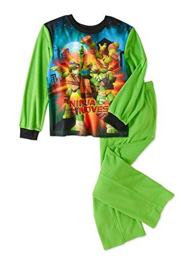 Teenage Mutant Ninja Turtles Licensed Flannel 2 Piece Boys Pajama Set (6/7),Green