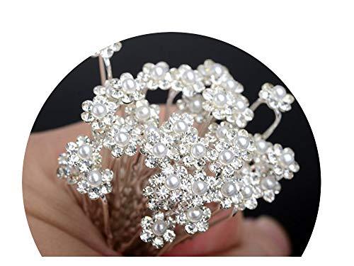 CouGoo Hot 20/40Pcs Wedding Bridal Pearl Hair Pins Flower Crystal Hair Clips Bridesmaid Jewelry,C 40Pcs ()