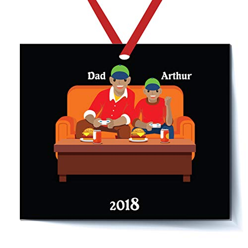 - Personalized Video Game Player Father and Boy Son Playing Video Game Christmas Ornament 2018 Free Personalization African - American (Black Father Black Son)