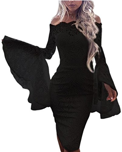 Lace Sleeve Cocktail Black Off Bell Bodycon Shoulder Jaycargogo Womens Dress wxXtqUCOcO