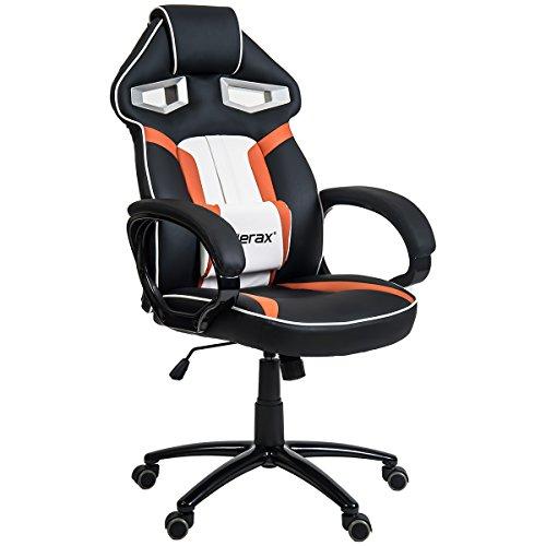Merax Stylish Devil's Eye Series High-Back PU Leather Gaming Chair (Orange) Merax