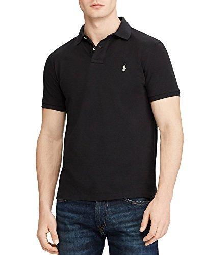 Cotton Mesh Custom Slim Fit Polo (Black, L) from Polo Ralph Lauren