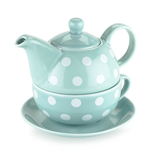 Pinky Up 5033 Addison Polka Dot Tea-for-One Sets, Blue