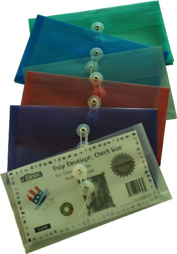 Filexec, 1530, Poly Envelope, Side-Loading, Check Size, Set of 12 in 6 Assorted Colors, 2 Each Smoke, Blue, Red, Clear, Purple, Green, Office Central